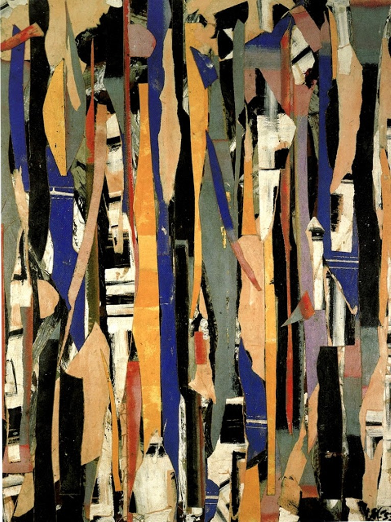 City Verticals oil paper and canvas collage 1953